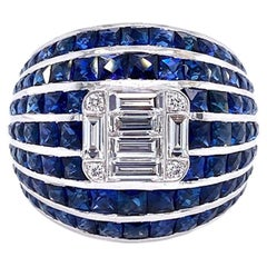 Ruchi New York Blue Sapphire and Diamond Cocktail Ring