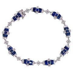 Ruchi New York Blue Sapphire and Diamond Deco Tennis Bracelet