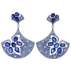 Ruchi New York Blue Sapphire and Diamond Fan Drop Earrings