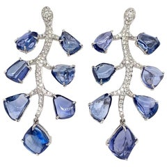 Ruchi New York Blue Sapphire and Diamond Leaf Earrings