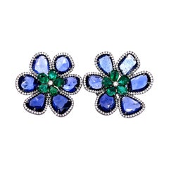 Ruchi New York Blue Sapphire and Emerald Flower Clip On Earring