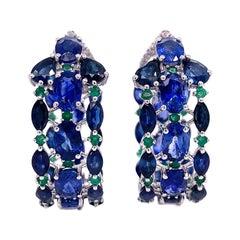 Ruchi New York Blue Sapphire and Emerald Hoop Earrings