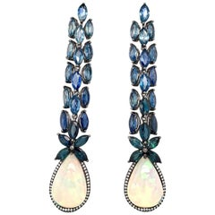 Ruchi New York Blue Sapphire and Ethiopian Opal Chandelier Earrings