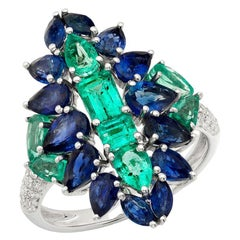 Ruchi New York Blue Sapphire, Colombian Emerald and Diamond Cocktail Ring