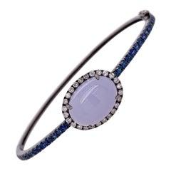 Ruchi New York Blue Sapphire, Diamond and Chalcedony Bangle Bracelet