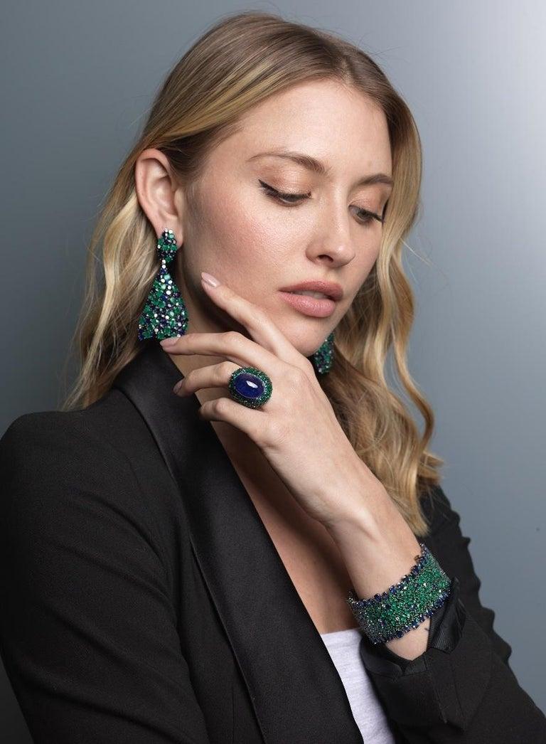 Contemporary Blue Sapphire, Emerald and Diamond Bracelet For Sale