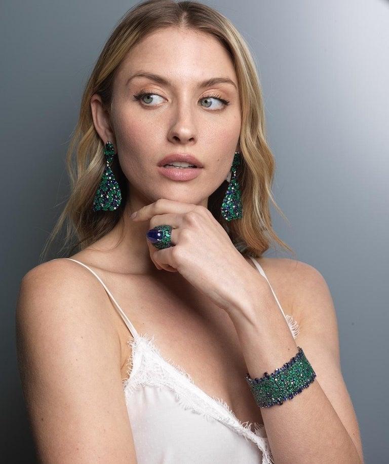 Round Cut Blue Sapphire, Emerald and Diamond Bracelet For Sale