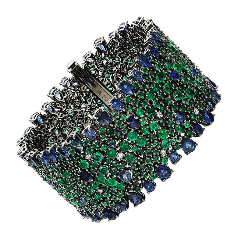 Blue Sapphire, Emerald and Diamond Bracelet For Sale