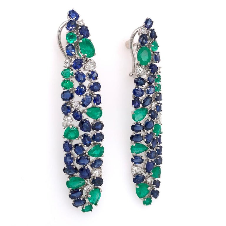 Contemporary Ruchi New York Blue Sapphire, Emerald And Diamond Chandelier Earrings For Sale