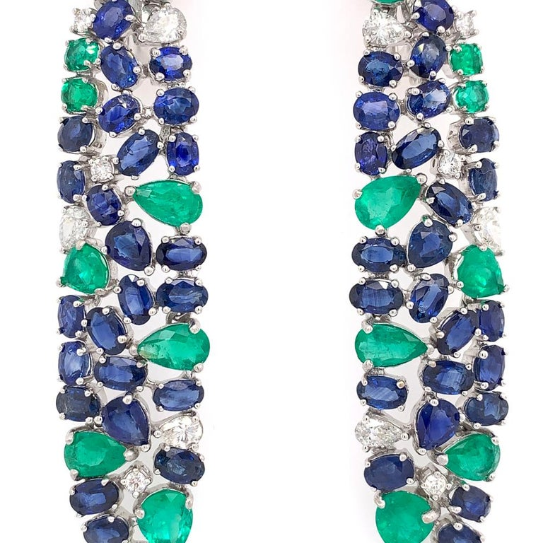 Oval Cut Ruchi New York Blue Sapphire, Emerald And Diamond Chandelier Earrings For Sale
