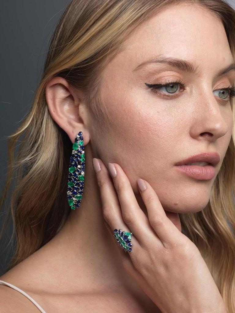Women's Ruchi New York Blue Sapphire, Emerald And Diamond Chandelier Earrings For Sale