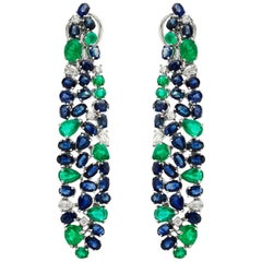 Ruchi New York Blue Sapphire, Emerald And Diamond Chandelier Earrings