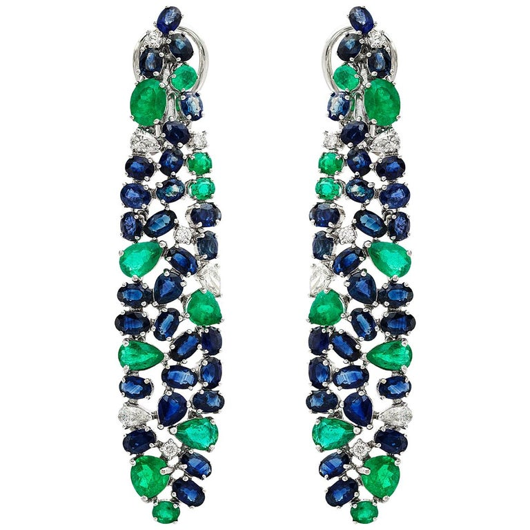 Ruchi New York Blue Sapphire, Emerald And Diamond Chandelier Earrings For Sale