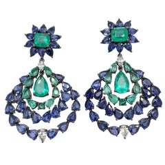 Ruchi New York Blue Sapphire, Emerald and Diamond Earrings