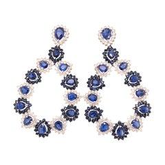Ruchi New York Blue Sapphire, Kyanite and Diamond Chandelier Earring