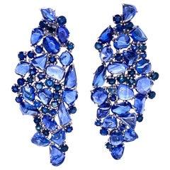Ruchi New York Blue Sapphire Nugget Chandelier Earrings