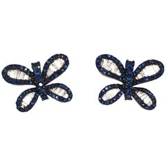 Ruchi New York Butterfly Sapphire and Diamond Studs