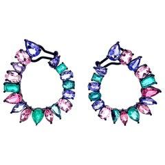 Ruchi New York C Shape Emerald, Tanzanite and Tourmaline Earrings