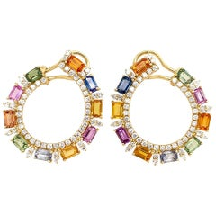 Ruchi New York C Shape Multi-Color Sapphire Earrings