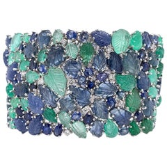 Ruchi New York Carved Emerald and Blue Sapphire Leaf Statement Bracelet