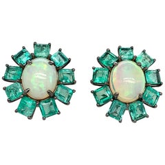Ruchi New York Colombian Emerald and Ethiopian Opal Stud Earrings