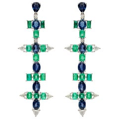 Ruchi New York Colombian Emerald and Sapphire Chandelier Earrings