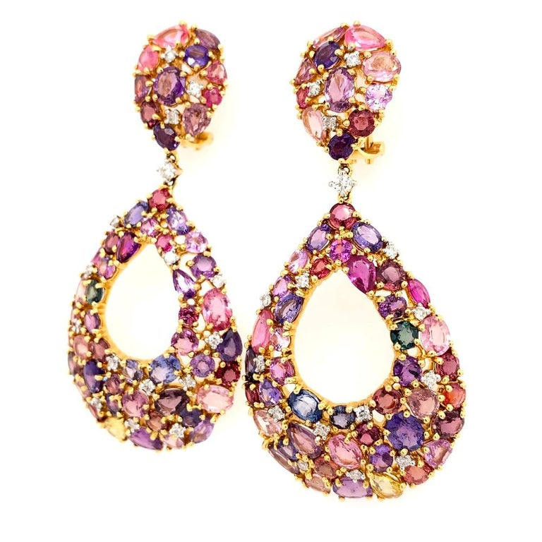 Contemporary Ruchi New York Color Sapphire Chandelier Earrings For Sale