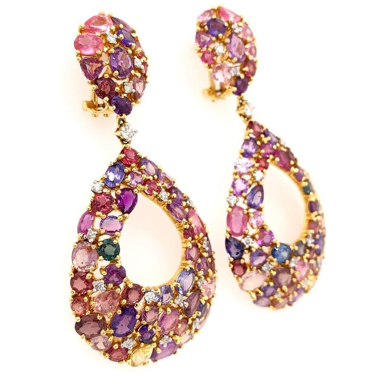 Oval Cut Ruchi New York Color Sapphire Chandelier Earrings For Sale