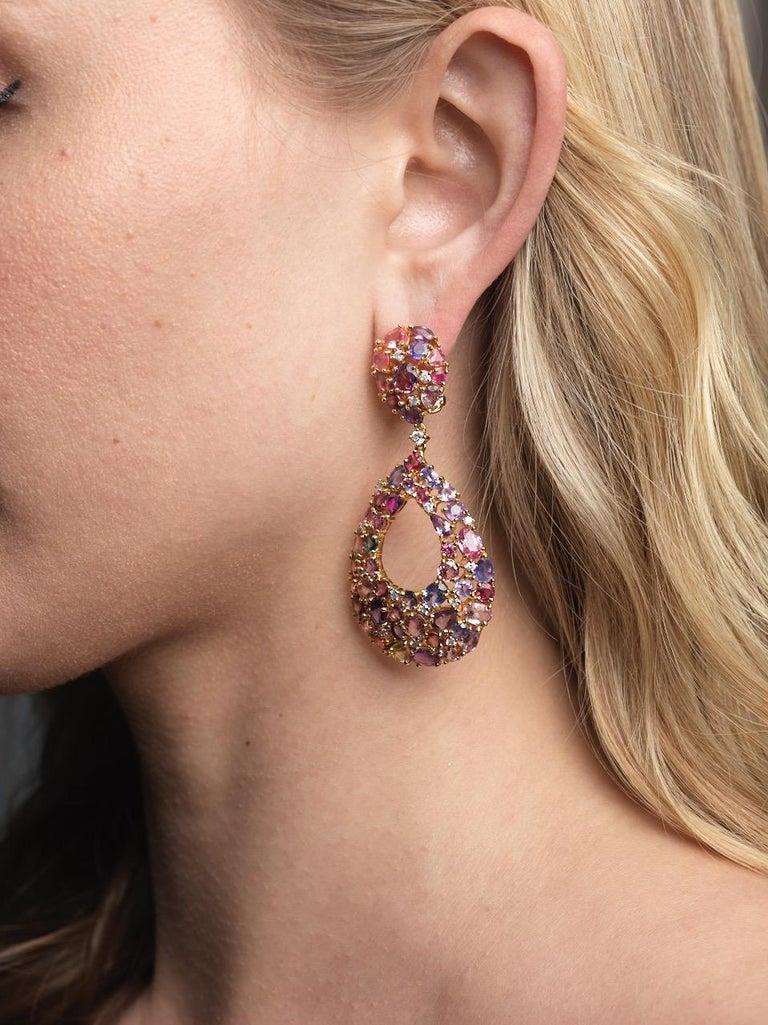 Women's Ruchi New York Color Sapphire Chandelier Earrings For Sale