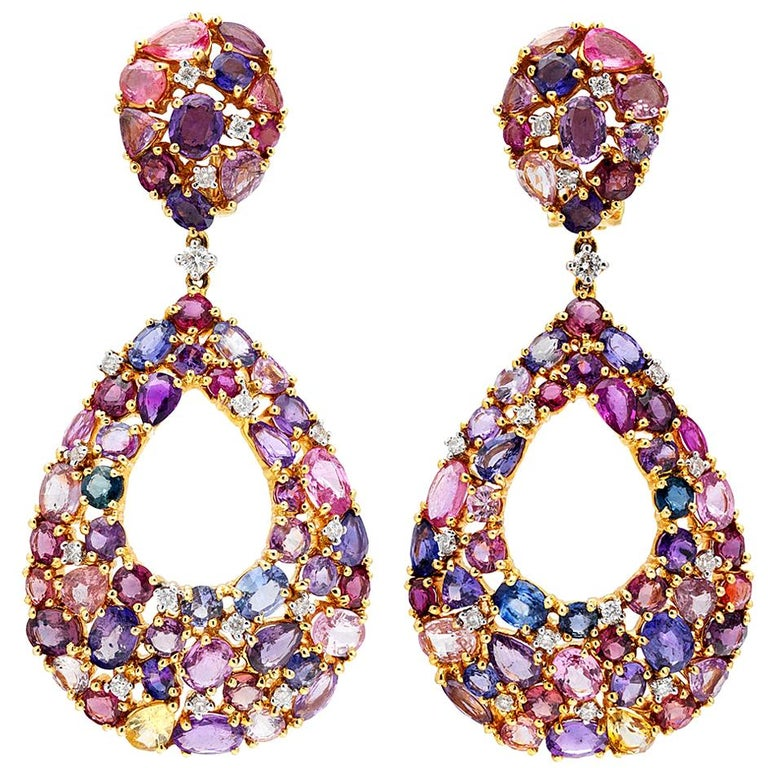 Ruchi New York Color Sapphire Chandelier Earrings For Sale