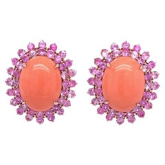 Ruchi New York Coral and Pink Sapphire Earrings