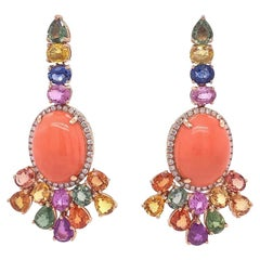 Ruchi New York Coral, Multi-Color Sapphire and Diamond Drop Earrings
