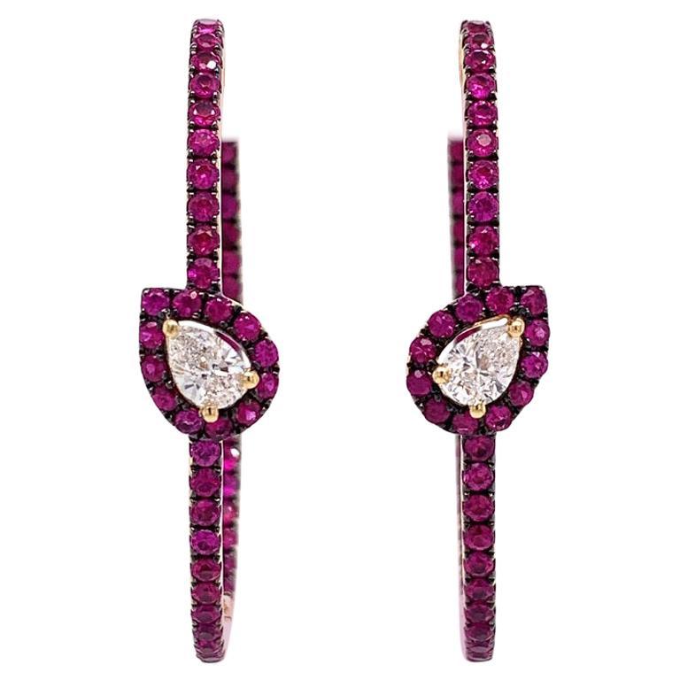 Ruchi New York Diamond and Ruby Hoop Earrings