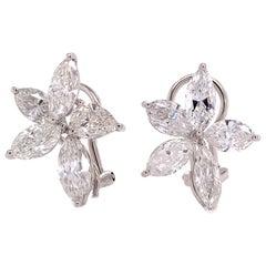 Ruchi New York Diamond Flower Clip-On Earrings