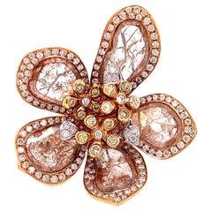 Ruchi New York Diamond Flower Cocktail Ring