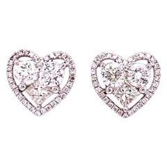 Ruchi New York Diamond Heart Stud Earrings