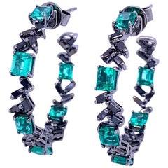 Ruchi New York Emerald and Black Diamond Hoop Earrings
