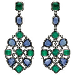 Ruchi New York Emerald and Blue Sapphire Chandelier Earrings