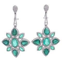 Ruchi New York Emerald and Diamond Chandelier Earrings