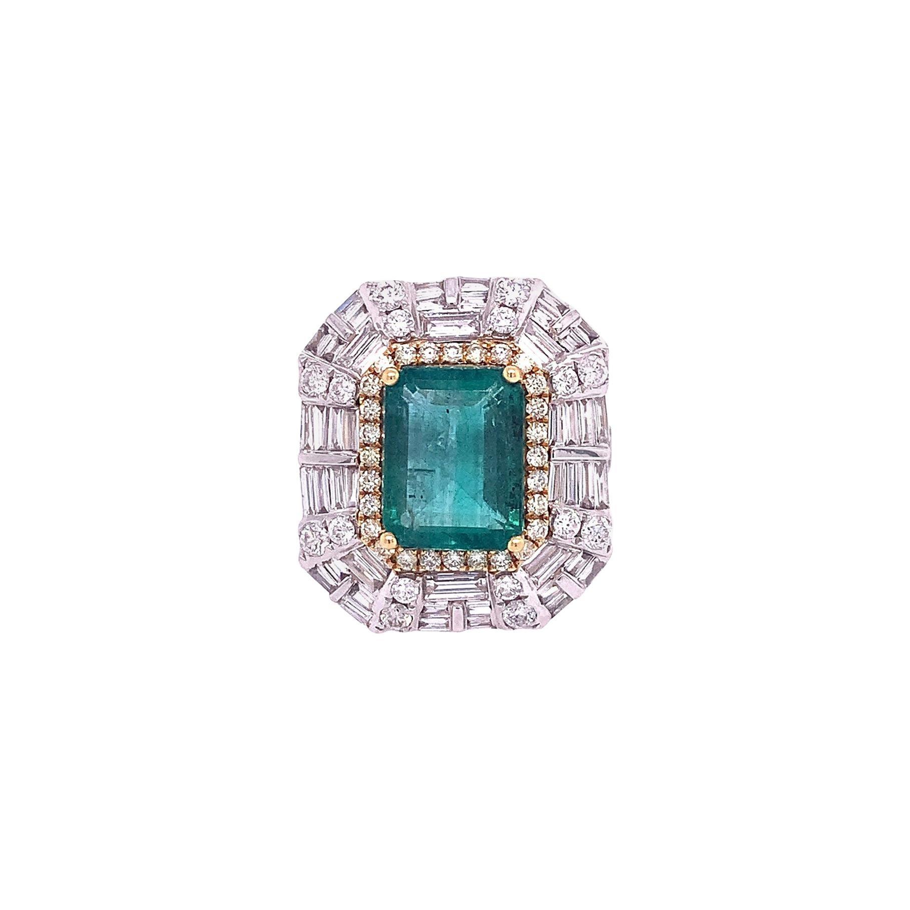 Ruchi New York Emerald and Diamond Cocktail Ring