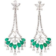 Ruchi New York Emerald and Diamond Floral Chandelier Earrings
