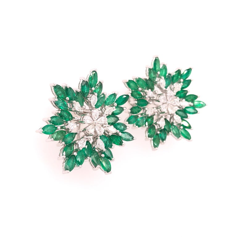 Pear Cut Ruchi New York Emerald and Diamond Flower Earrings  For Sale