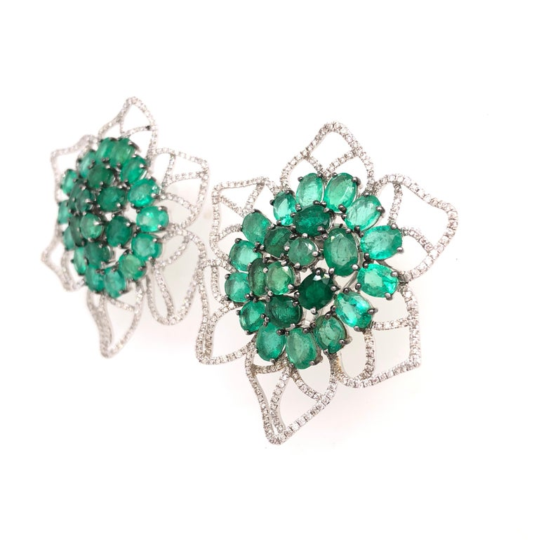 Oval Cut Ruchi New York Emerald and Diamond Flower Stud Earrings For Sale