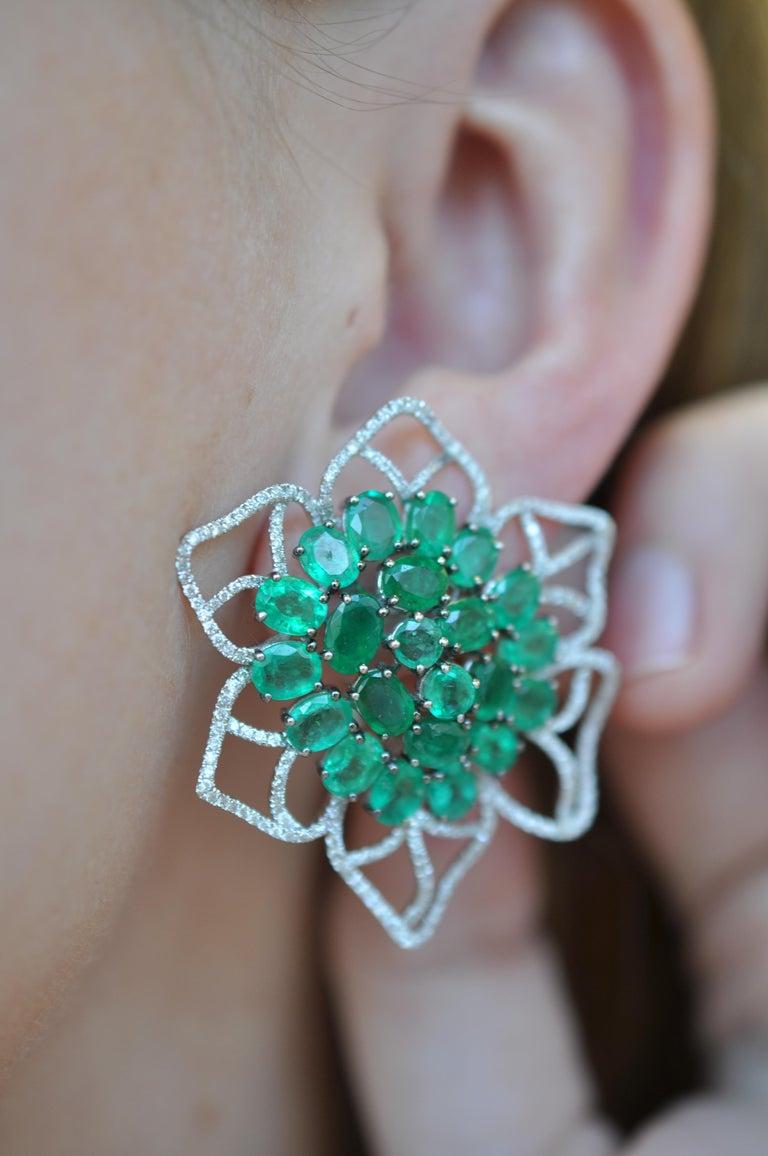 Women's Ruchi New York Emerald and Diamond Flower Stud Earrings For Sale