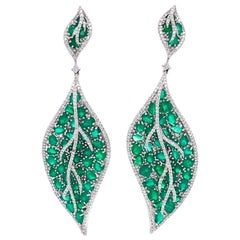 Ruchi New York Emerald and Diamond Leaf Drop Earrings