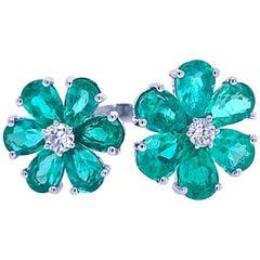 Ruchi New York Emerald and Diamond Open Flower Ring