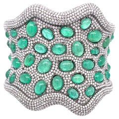 Ruchi New York Emerald and Diamond Statement Cuff Bracelet