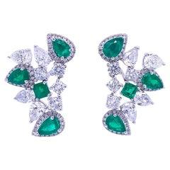 Ruchi New York Emerald and Diamond Statement Stud Earrings