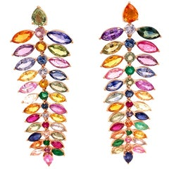 Ruchi New York Emerald and Multi-Color Sapphire Chandelier Earrings