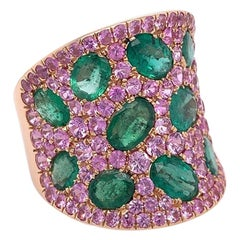 Ruchi New York Emerald and Pink Sapphire Cocktail Ring